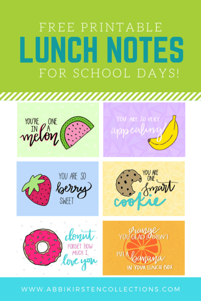 Back to School Free Printable Lunch Notes