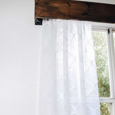 How to Make Your Own Wood Window Valence with Curtains