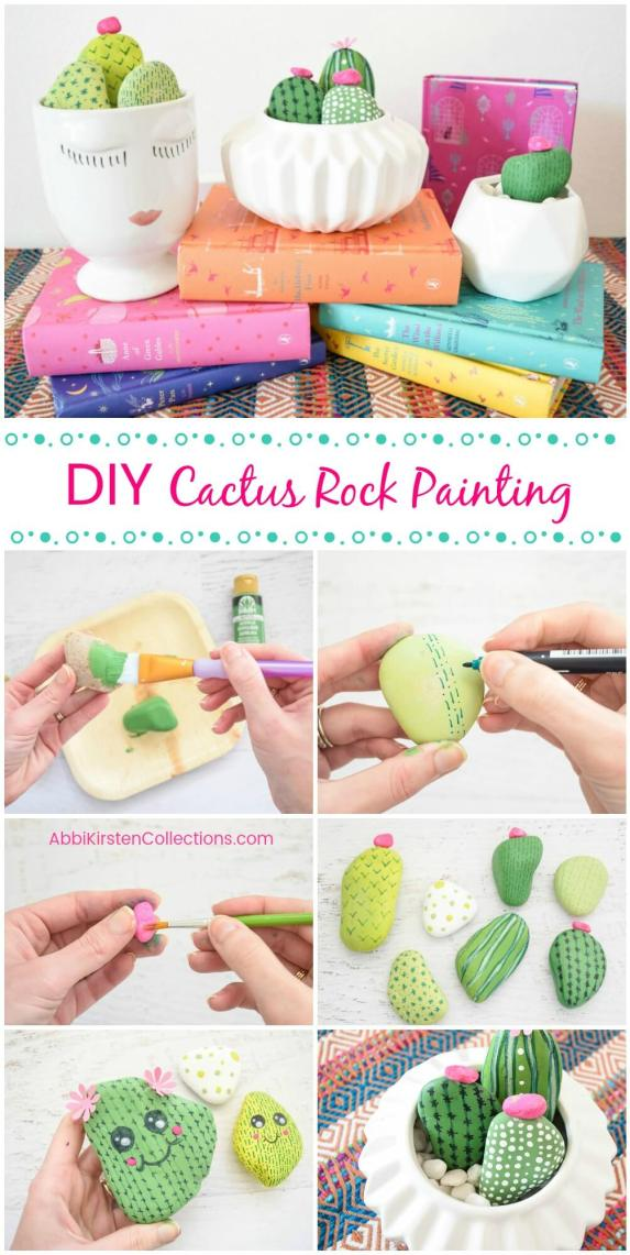 Cactus rock painting. Easy rock painting patterns