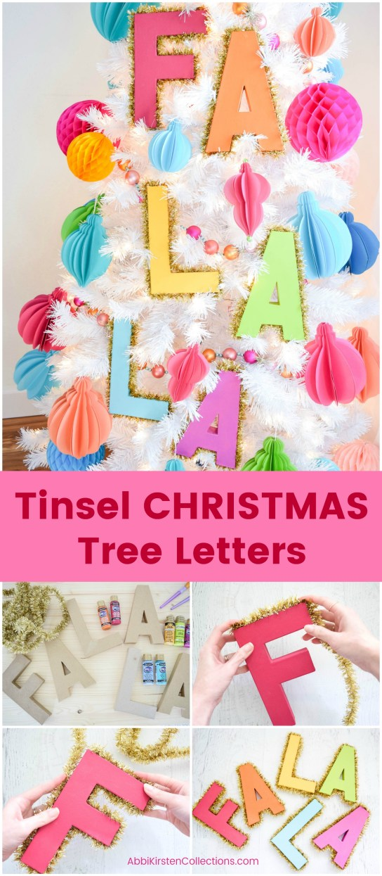 Decorative Tinsel Christmas Tree Letters: Easy Christmas Tree DIY. How to make large Christmas letters for your Christmas tree.