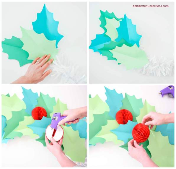Giant paper holly DIY Christmas garland