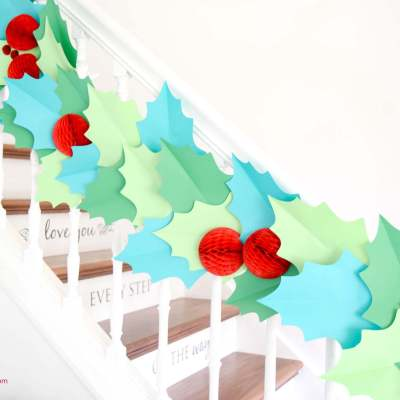 DIY Christmas Garland – How to Make Giant Paper Holly Garland