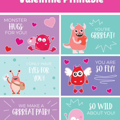 Free Valentine's Cards for Kids: Printable Monster Valentine Cards