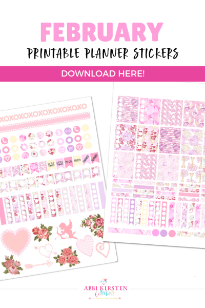 Free February Planner Stickers: Printable Planner Stickers for February. Download your free Valentine planner stickers to use with any planner.