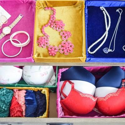 Re-purposed DIY Cardboard and Velvet Fabric Storage Boxes