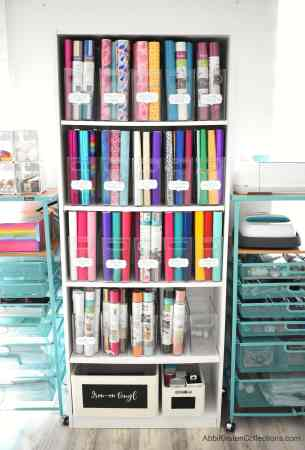 Best craft vinyl storage ideas. Containers and bookshelf storage for Cricut vinyl.