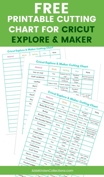 Free printable cutting chart for Cricut and Explore and Cricut Maker machines.