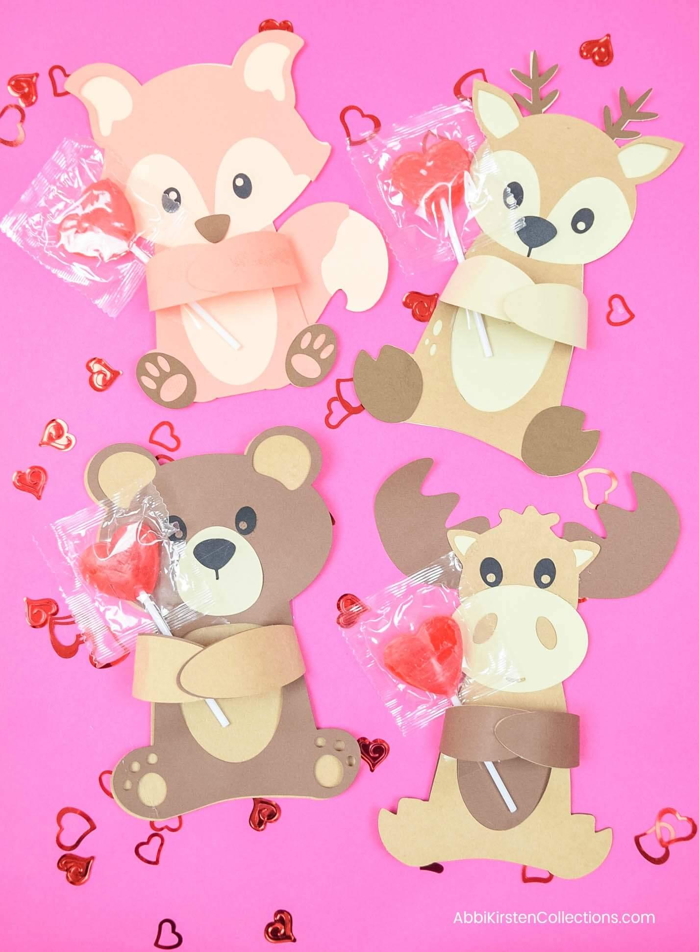 Woodland Animal Valentine's Huggers – Free SVG Cut Files & Printables