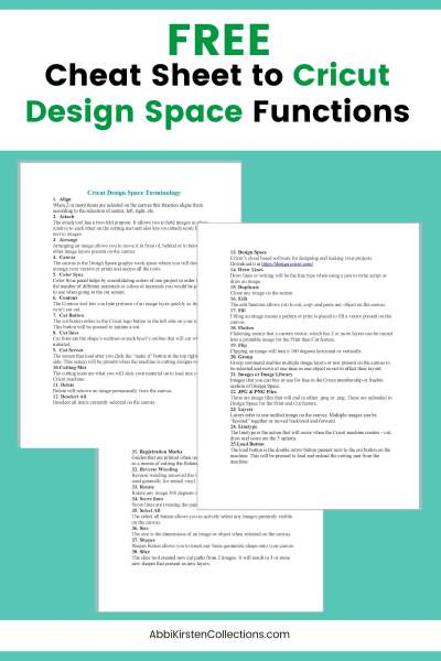 Free Cricut Design Space cheat sheets.