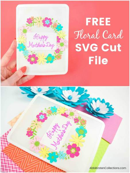 DIY floral card with free svg cut files