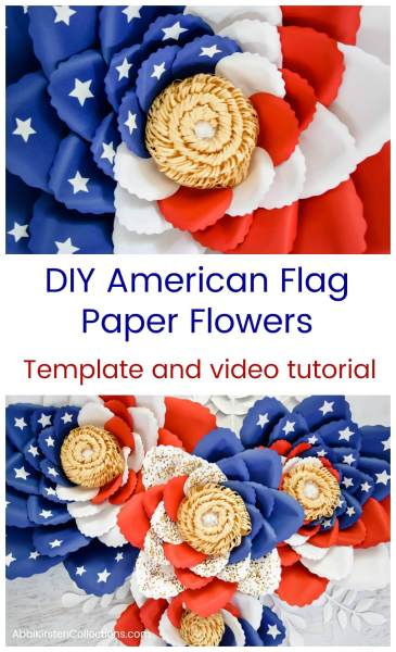 DIY American flag paper flower templates and tutorial