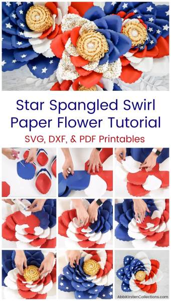 red, white and blue paper flowers