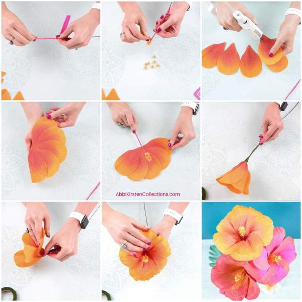 diy hibiscus flower template  how to make crepe paper flowers