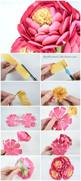 Peony Paper Flower Template: How to Make Easy DIY Paper Flowers. Full supply list for creating paper flowers and how to build easy stemmed flowers.