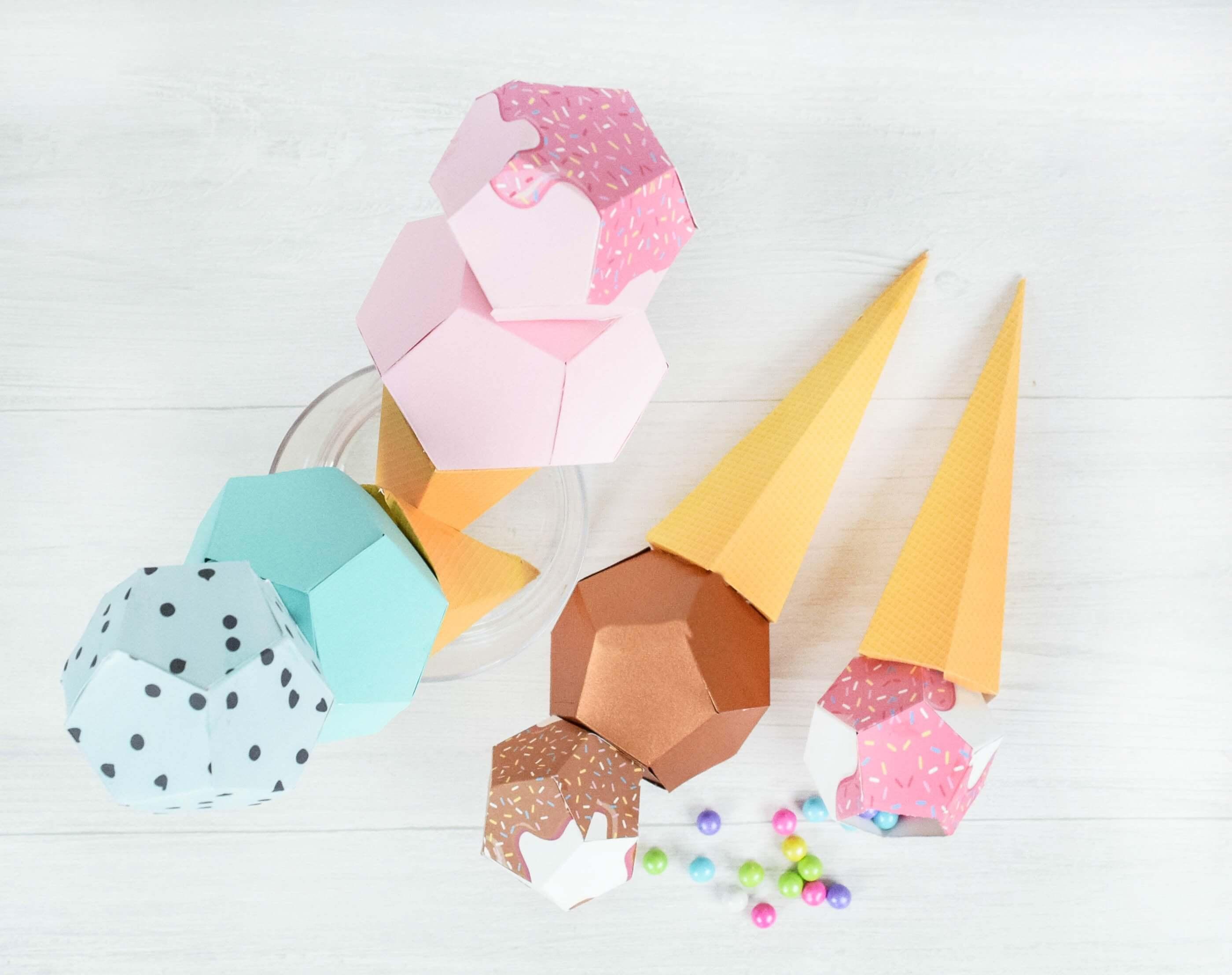 3D Paper Ice Cream Template Craft: DIY Ice Cream Favor SVG