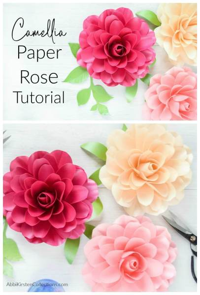 How to Make Small Paper Roses. Step by step Camellia Rose tutorial with templates. Use the SVG flower template with your Cricut machine or hand cut with the PDF printables.