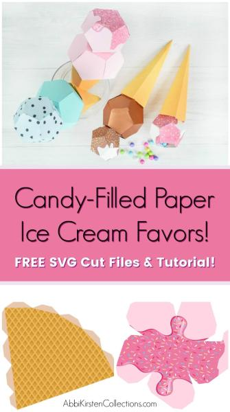 3D Paper Ice Cream Template Craft: DIY Ice Cream Favor SVG. Use this ice cream svg template as a candy-filled favor for kids parties and more!