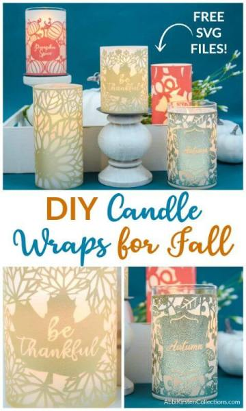 DIY Fall Table Decorations: How to make DIY vinyl and vellum Fall candle wraps with your Cricut. Dress up any candle with this easy holiday craft.