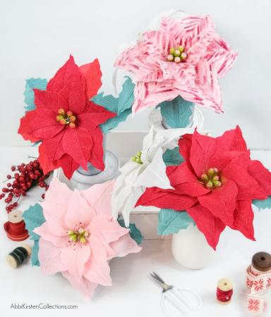 Crepe Paper Poinsettia Flower Tutorial: Create Christmas and Holiday decor with this free poinsettia template and step by step tutorial.