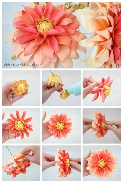 Autumn Sunburst Dahlia Paper Flower Template: Step by step small paper dahlia flower tutorial. DIY paper flowers for Fall table decor.