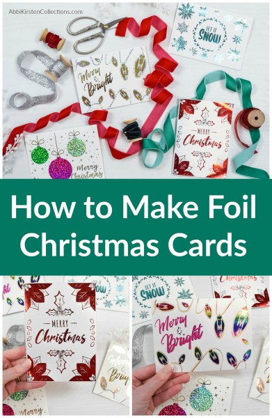 DIY Christmas card tutorial with deco foil - Free Christmas card printable PDF templates. Card SVG cut files with deco foil tutorial.
