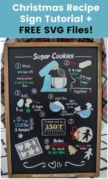 Christmas recipe sign tutorial with FREE SVG cut files for Cricut.