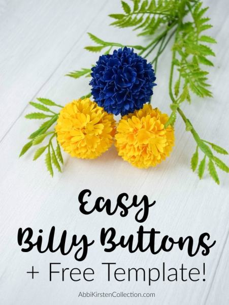 How to make easy Billy Button paper flowers. Beautiful billy ball flowers are perfect for bouquets, corsages or wreaths! Download your free template here.