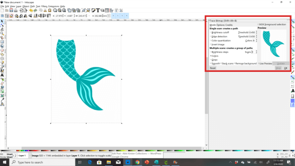 tracing image in inkscape