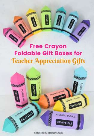 Free crayon foldable gift boxes for teacher appreciation gifts.