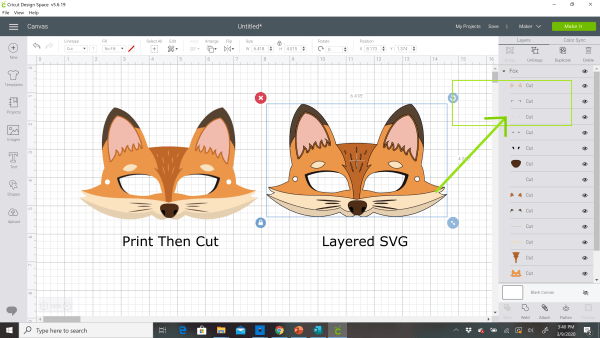 The difference between print then cut and layered svg files in Cricut Design Space.