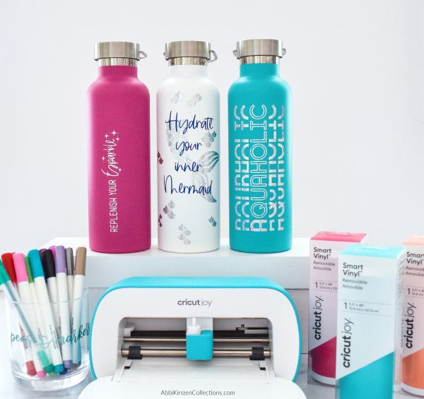 Personalized water bottle decals with the Cricut Joy.