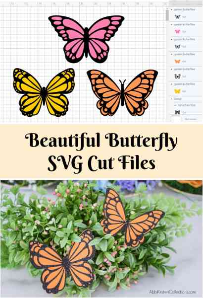 Learn how to make paper butterflies using cardstock and glitter vinyl. Create glitter butterflies that add eye-catching sparkle to any project! Butterfly SVG cut files.