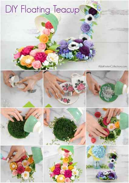 DIY floating teacup tutorial with paper flowers.
