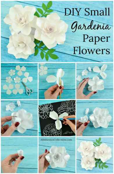 How to make small DIY paper gardenia flowers. Create beautiful paper gardenias for bouquets, arrangements and more. Step by step tutorial and templates.