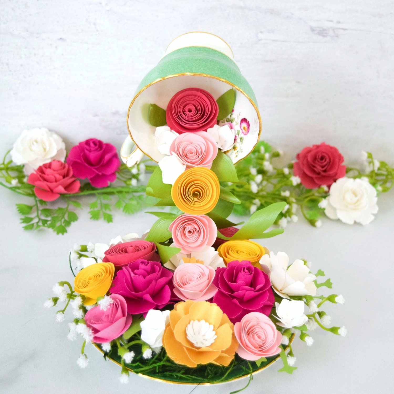 How to Make a Floating Tea Cups with Cascading Paper Flowers