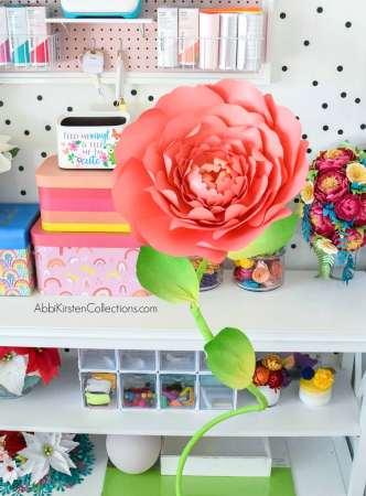 DIY paper flower stems for large roses