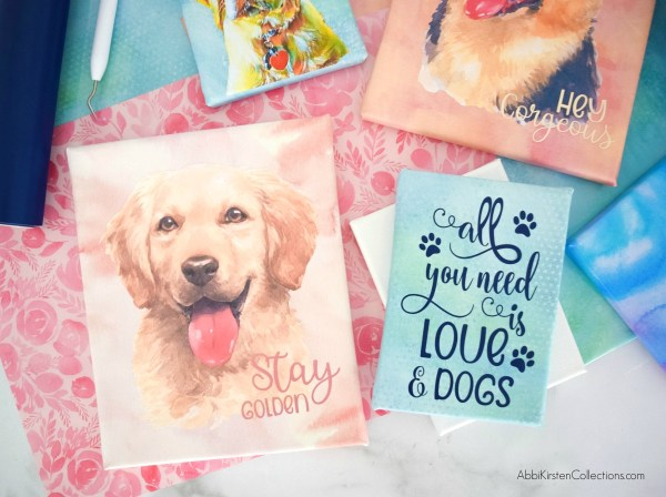 How to make easy DIY canvas art with your Cricut machine, heat transfer vinyl and Easypress! Create watercolor art with the help of your Cricut!