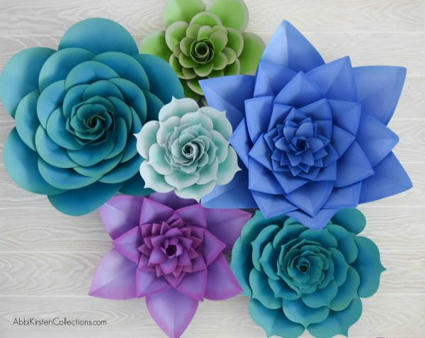 How to make large paper succulent flowers. Paper succulent flower template and tutorial. Use the SVG files with Cricut or hand cut with printable PDF files.