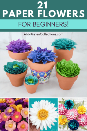 Easy paper flowers for beginners. DIY flower templates for cutting machine or cutting by hand with scissors.