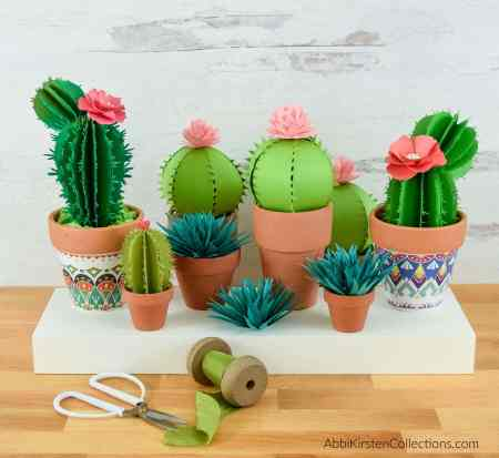 DIY easy paper cactus craft tutorial and templates. How to make ferocactus, prickly pear, and aloe vera paper plants for your home.
