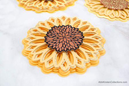 3d sunflower mandala svg