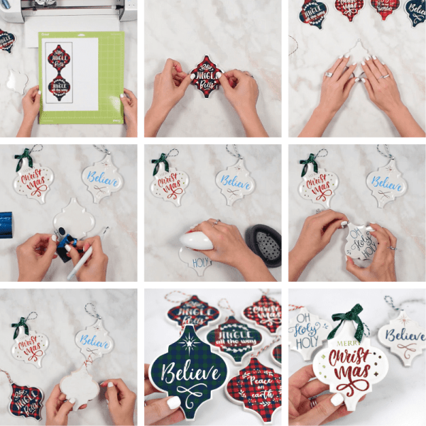 How to make tile Christmas ornaments with cricut.