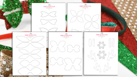 Free hair bow templates. PDF printables and SVG cut files