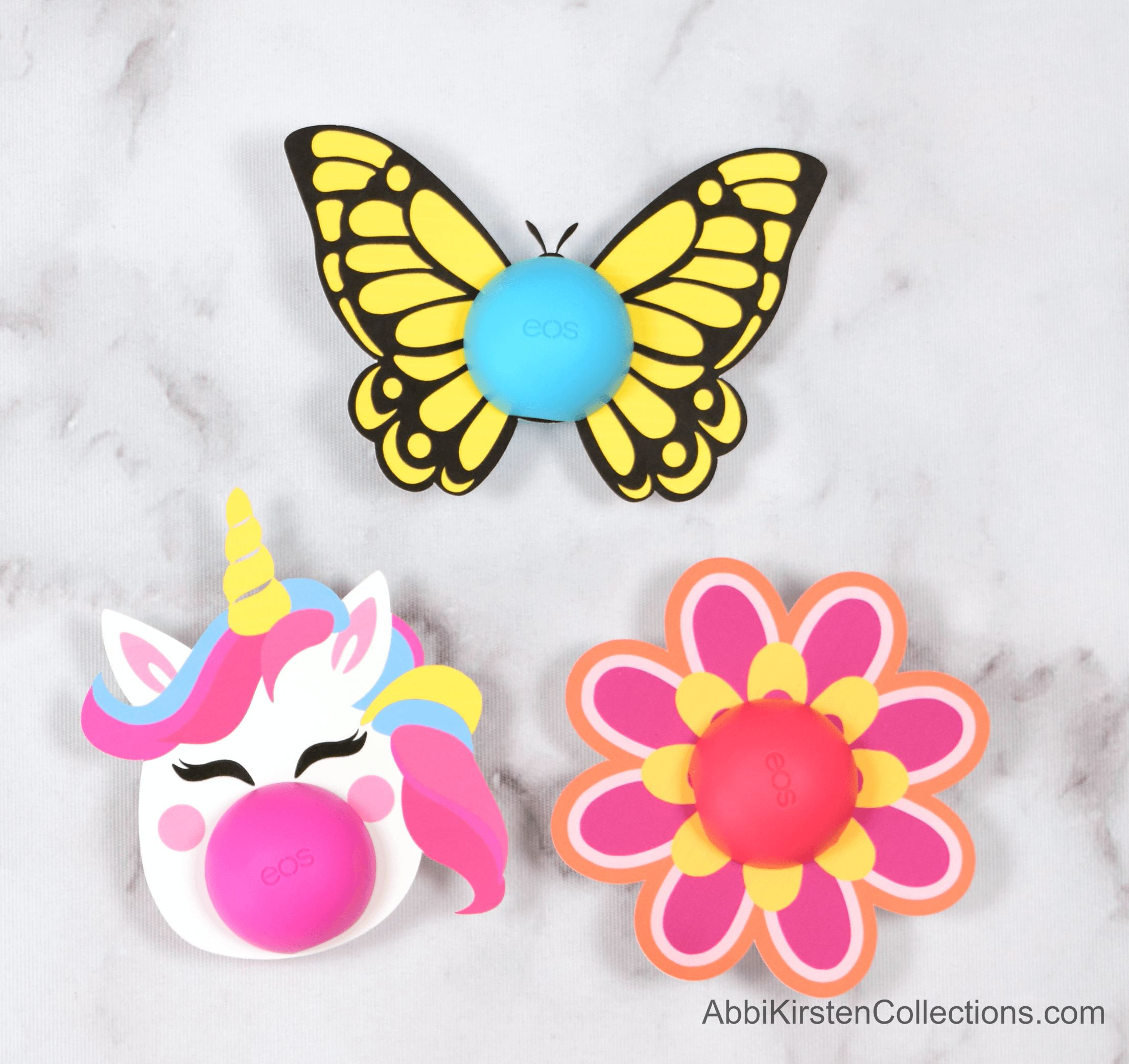 Free Eos Lip Balm Printables – Unicorn, Flower, and Butterfly Templates