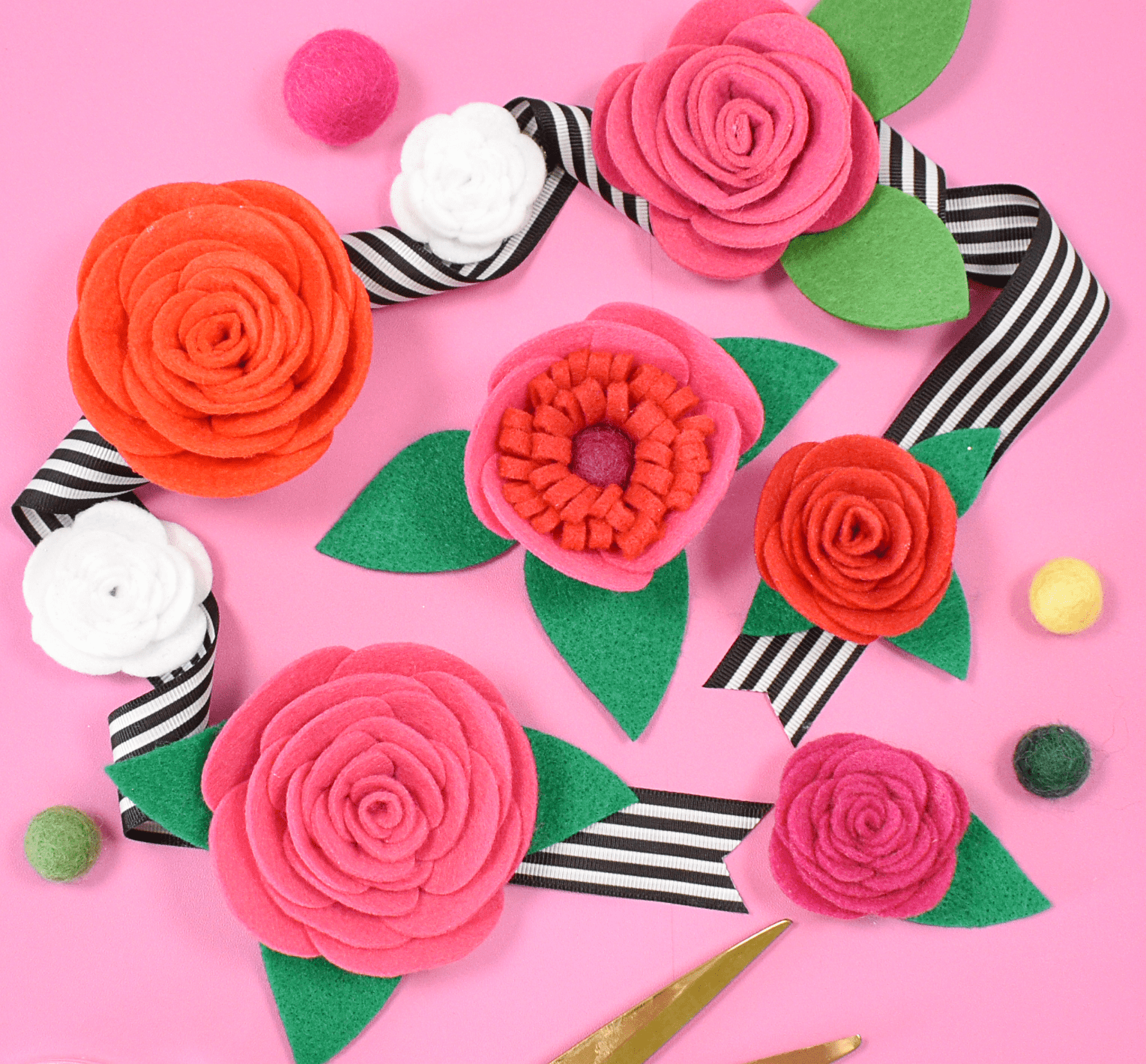 How to Make Easy Felt Roses with Free SVG Files and PDF Printable Templates