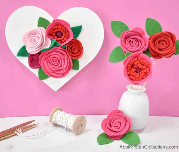 Step by step felt rose tutorial with free templates.
