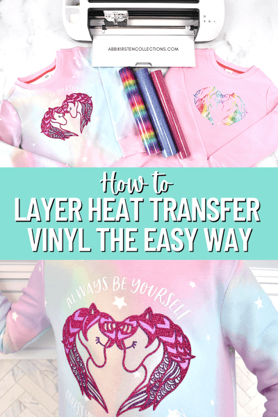 How to Layer Iron-On Vinyl with Your Cricut. Learn how to layer glitter heat transfer vinyl on shirts. Step by step Cricut tutorial.