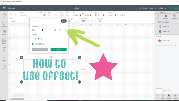 Setting your offset in Cricut design space.