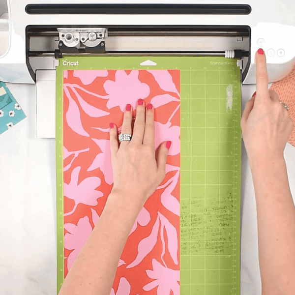 Cutting wrapping paper with cricut.