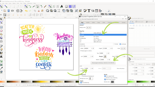 How to set your document properties in Inkscape for Cricut design space.